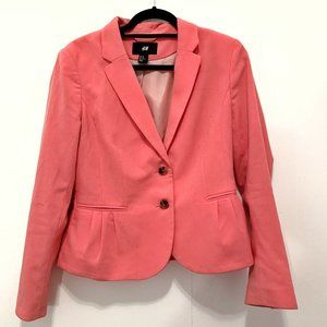 H&M Pink Structured Pleated Two Button Blazer